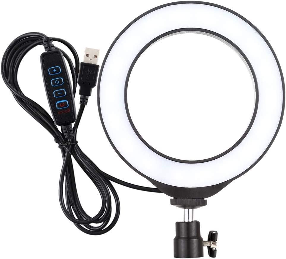 Color : Black WEIHONG Accessory 6.2 inch USB 3 Modes Dimmable LED Ring On-Camera Video Lights with Cold Shoe Tripod Ball Head WEIHONG