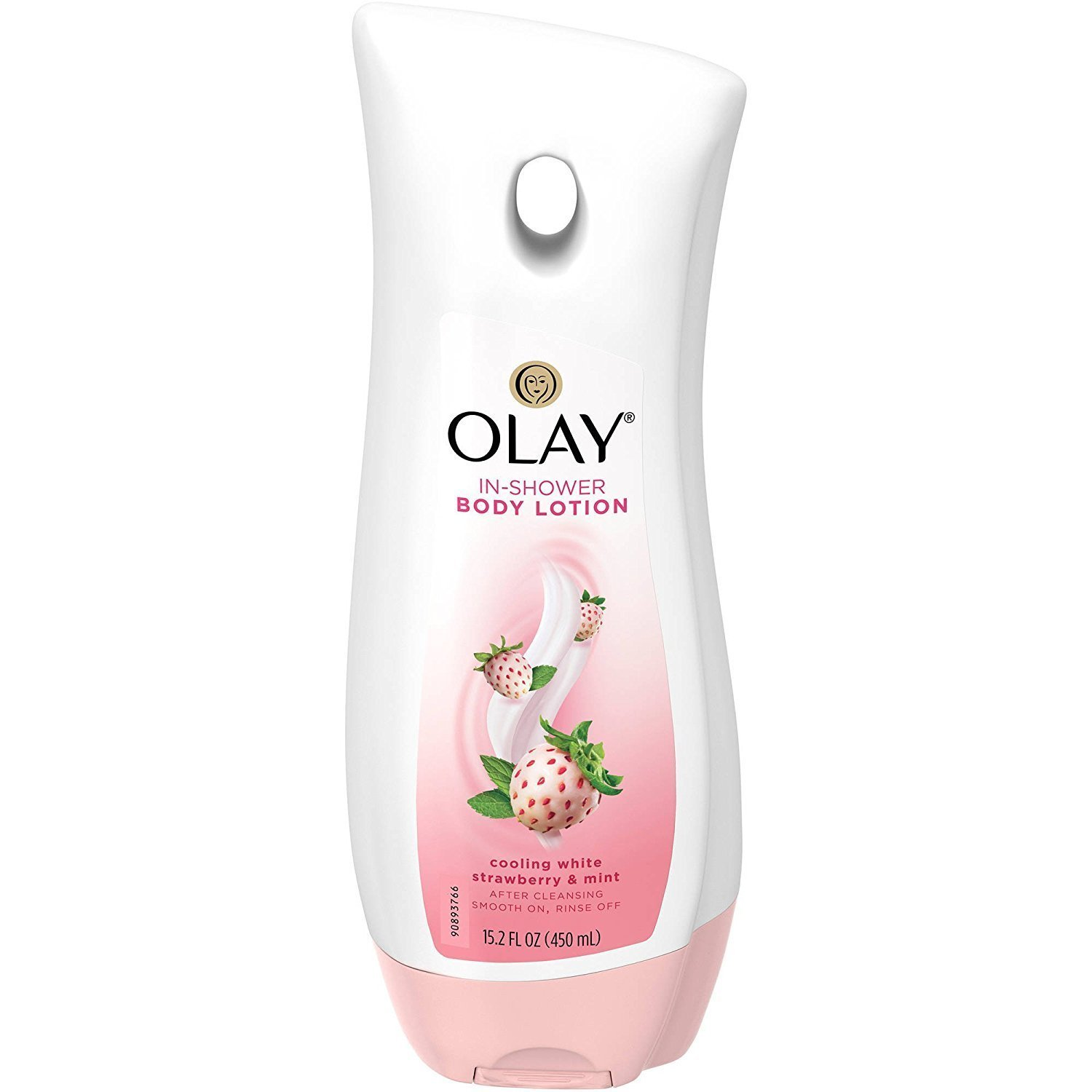 Olay In-Shower Body Lotion - Cooling White Strawberry & Mint - Net Wt. 15.2 FL OZ (450 mL) Per Bottle - One (1) Bottle by Olay
