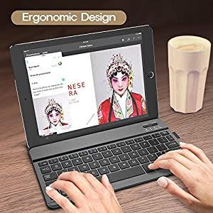 Bluetooth Keyboard, Nulaxy Rechargeable Keyboard W Ultra Slim Lightweight Smart Stand Case Cover for iPad Air 3/2/1, iPad Pro, iPad Mini 4/3/2/1, iPad 4/ 3/ 2, iPhone X , iPhone 8, iPhone 8 Plus