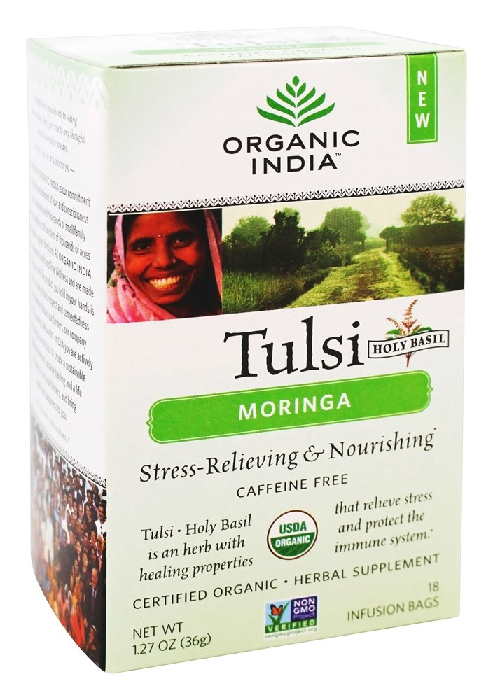 ORGANIC INDIA Tulsi Moringa Tea - Delicious Moringa and Holy Basil Blend Rich in Antioxidants - 100% Certified Organic