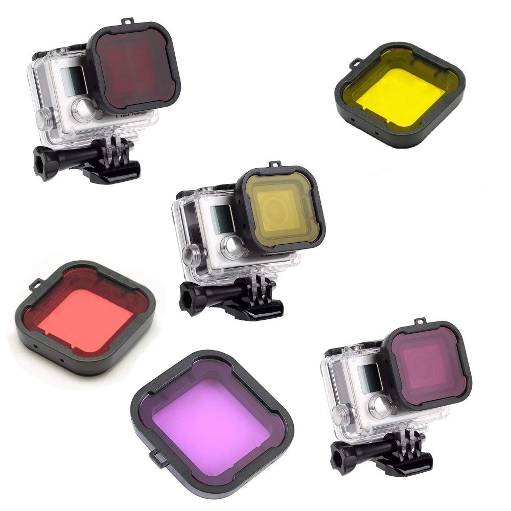 Kate&Yur 3 Pack Dive Filter for Hero 3+ Hero 4 (for Underwater case Size: 36x33.5 (mm)) - Red Filter, Yellow Filter and Magenta Filter - Enhancing Colors for Various Underwater Video and Photography by Kate&Yur
