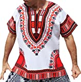RaanPahMuang Brand Unisex Bright White Cotton Africa Dashiki Shirt Plain Front, X-Large, White Red
