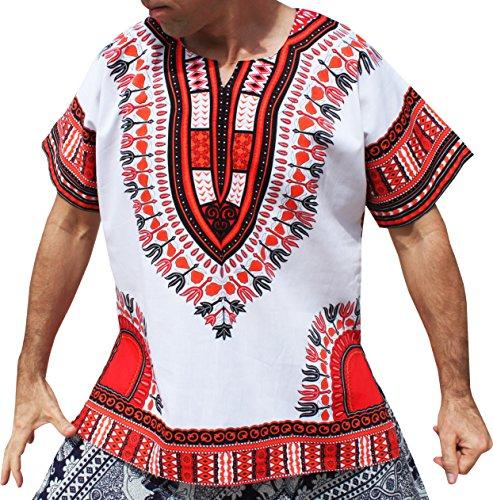 RaanPahMuang Brand Unisex Bright White Cotton Africa Dashiki Shirt Plain Front, X-Large, White Red by Raan Pah Muang