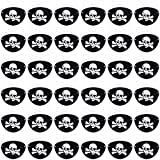 36 Packs Pirate Eye Patch Black Felt Pirate Captain Eye Patches Skull Crossbones for Children Party Favors and Costume Prop