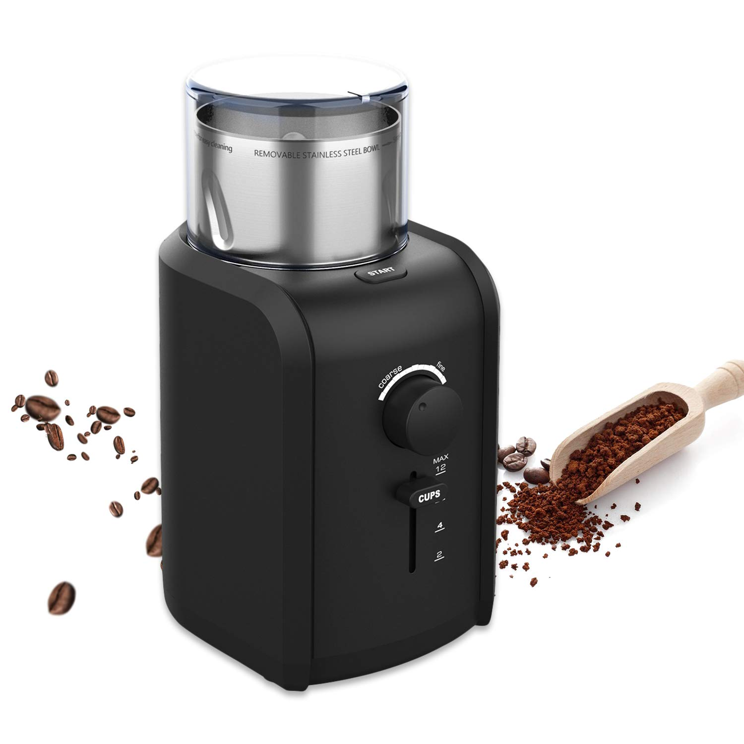 Electric Coffee Bean Grinder, Powerful Grinder, Grind Size & Cup Selection, Removable Cup, Stainless Steel, Easy Cleaning, Herbs, Grains, Nuts, Spice, 12 Cups, 200 Watt, Best Gifts