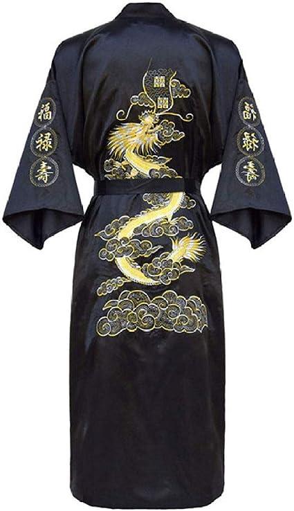 YueLian Mens Long Satin Chinese Dragon Embroidery Robe Kimono Bathrobe Sleepwear