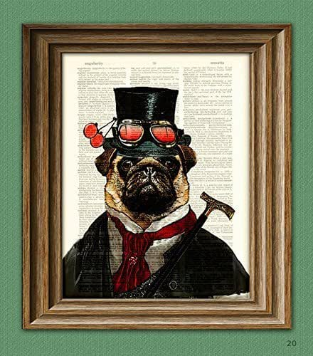 """Steampunk Pug """"Inquisitor Percy U. Pugington, Esq."""" illustration beautifully upcycled dictionary page book art print"""