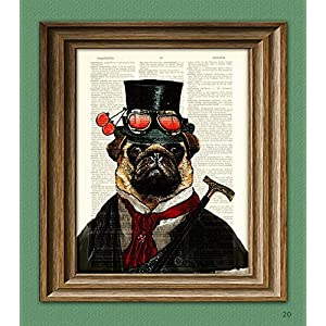 "Steampunk Pug""Inquisitor Percy U. Pugington, Esq."" Illustration Beautifully Upcycled Dictionary Page Book Art Print"