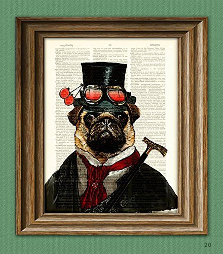 """Steampunk Pug""""Inquisitor Percy U. Pugington, Esq."""" Illustration Beautifully Upcycled Dictionary Page Book Art Print 3"""