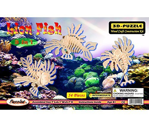 Puzzled Lion Fish 3 In 1 3D Natural Wood Puzzle by Puzzled