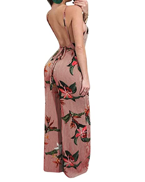 Women Lace Up Backless Spaghetti Strap Jumpsuit Summer Sleeveless Floral Print Rompers Beach Party Causal Jumpsuit Wide Leg Pant Women's Clothing