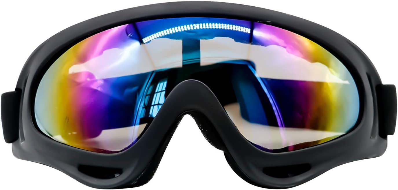 Ski Goggles, Motorcycle Motocross Goggles UV Protection Adjustable Outdoor Windproof Dustproof for Bicycle. for Youth, Boys, Girls, Men and Women, Wind Resistance Goggles, Anti-Glare Lenses- Transpare