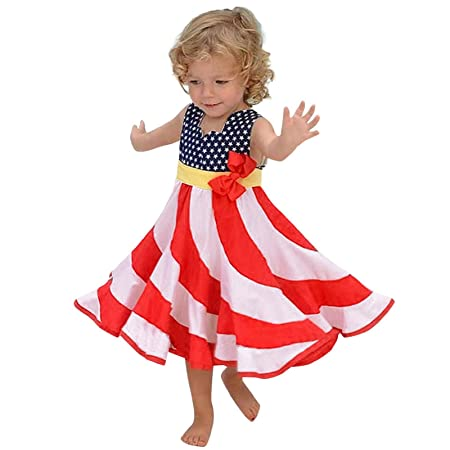Amazon.com: Children Girl Summer Cute Bow Dress Off Shoulder 4th of ...
