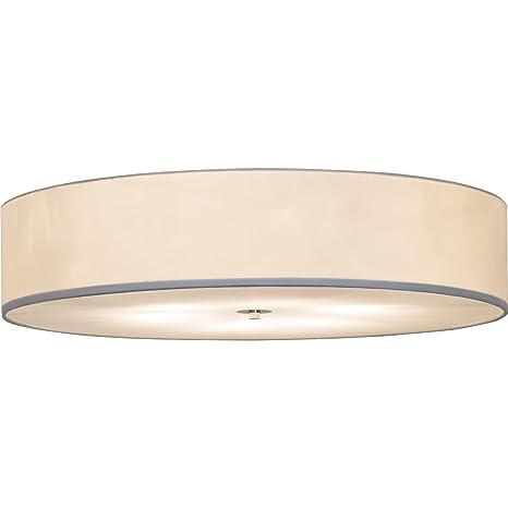 Moderna Lámpara de techo en diseño sencillo con tela, diámetro de 70 cm, 6 x E27 Max. 60 W, metal y tela, blanco/cromo