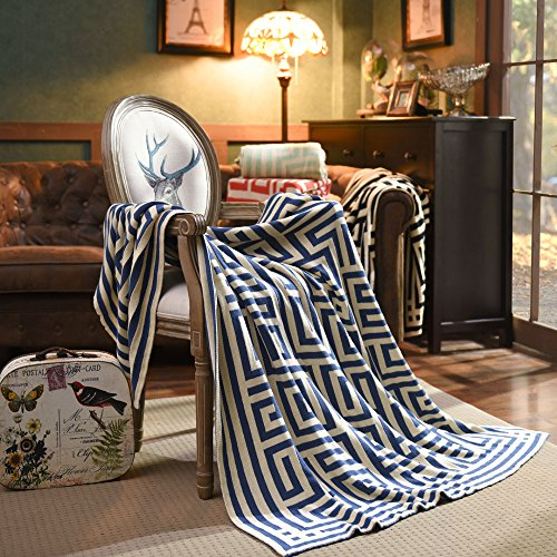 ZHIMIAN Lightweight 100% Cotton Geometry Stripes Pattern Soft Heavy Throw Bed Couch Blanket(Blue,51