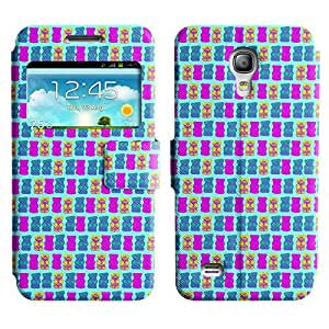 AADes Scratchproof PU Leather Flip Stand Case Samsung Galaxy S4 MINI ( Many Bears )