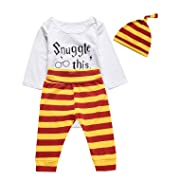 3PCS Outfit Set Baby Boys Girls Snuggle This Long Sleeve Bodysuit (White03, 3-6 Months)