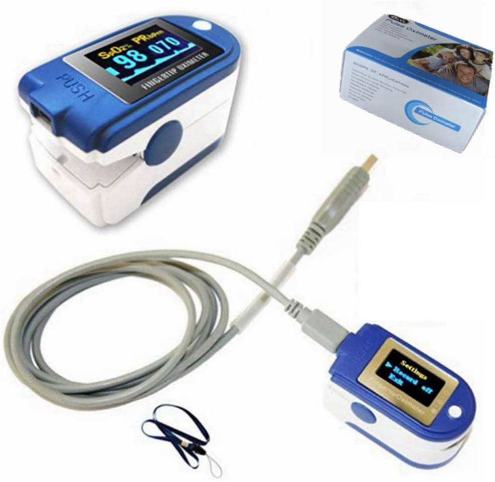 BLYL. Oxímetro de Pulso de Dedo CMS 50D+ USB OLED y Monitor de frecuencia cardíaca con Memoria de 24 Horas, Correa, Cable USB, Software de análisis Completo