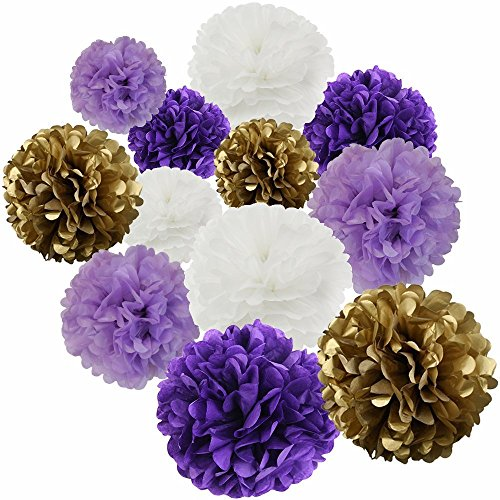 Happy Birthday Party Decoration Kit Purple Happy Birthday Banner With Purple Tissue Paper Pom Poms Paper Flowers by Wcaro (Image #2)