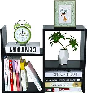 PAG Desktop Bookshelf Freestanding Wooden Countertop Bookcase Accessories Organizer Display Rack Dorm Desk Storage Shelf, Black