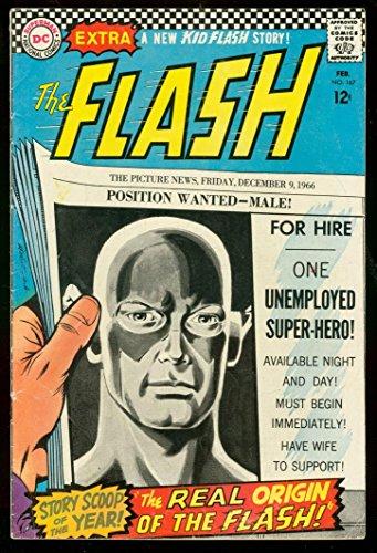 THE FLASH #167 1967-DC COMICS-NEW ORIGIN FACTS!!CARMINE - Flash 167