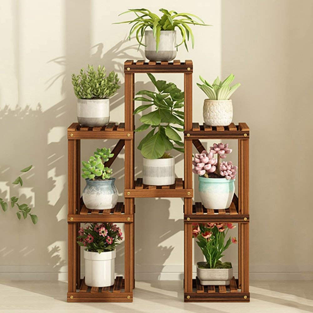 A Charcoal color Shelves Organizer for Books Bookcase Bookshelf Ends Flower Stand Wooden Multi-Layer Floor-Standing Indoor and Outdoor Balcony Living Room Patio Plant Stand Pot Rack Shelf Strong Sturdy, QiXian