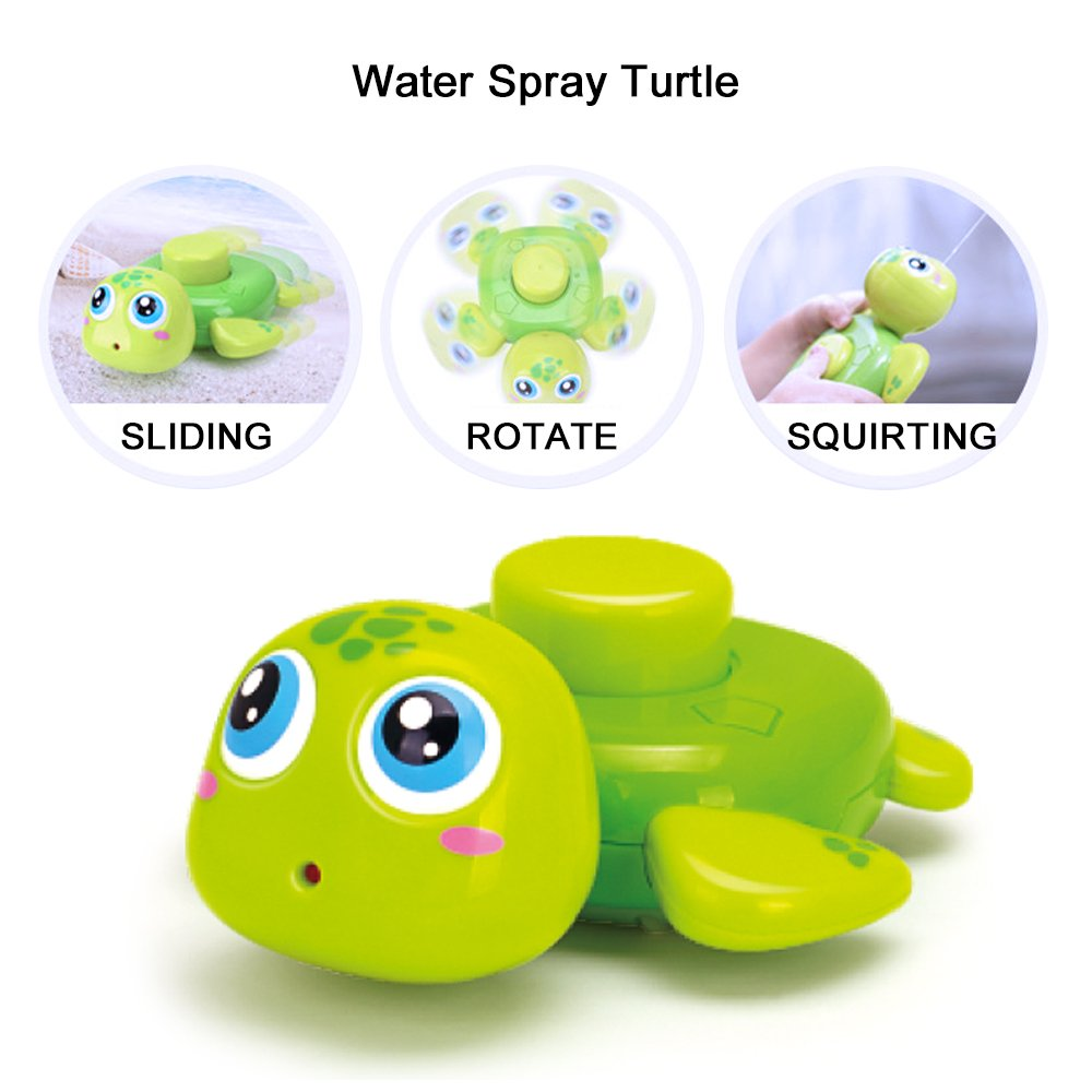 Woby Bath Toys Squirt Stackable Spray Fountain Floating Animal Swimming Pool Bathtub Play Toys Puffer Octopus Turtle for Toddlers Infants Kids Babies Girls Boys for 1 2 3 Years Old