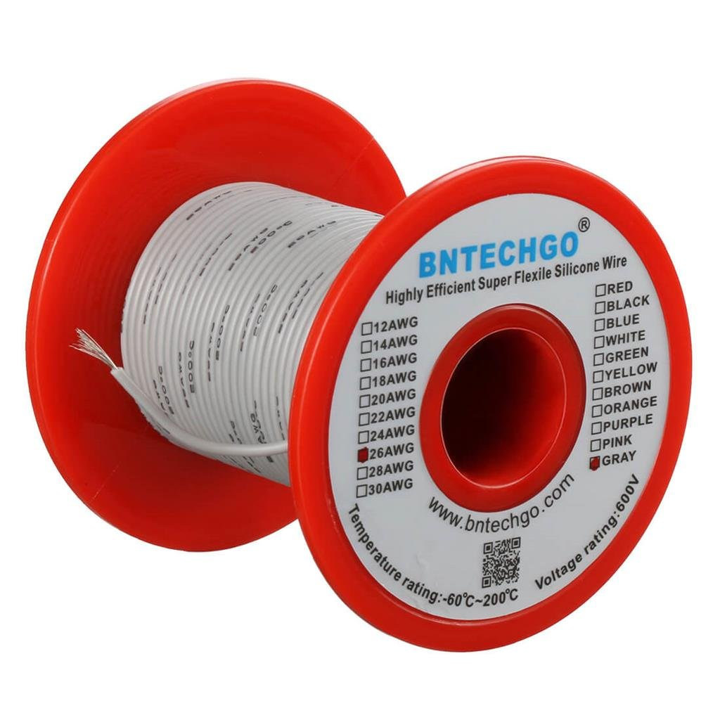 BNTECHGO 26 Gauge Silicone Wire Spool Green 100 feet Ultra Flexible High Temp 200 deg C 600V 26 AWG Silicone Rubber Wire 30 Strands of Tinned Copper Wire Stranded Wire for Model Battery Low Impedance bntechgo.com