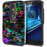 FINCIBO Kinzie XT1585 Case, Dual Layer Hard Back Hybrid Protector Cover Anti Shock TPU Skin For Motorola Droid Turbo 2 Kinzie XT1585 X Force XT1580 - Purple Green Galaxy Marble