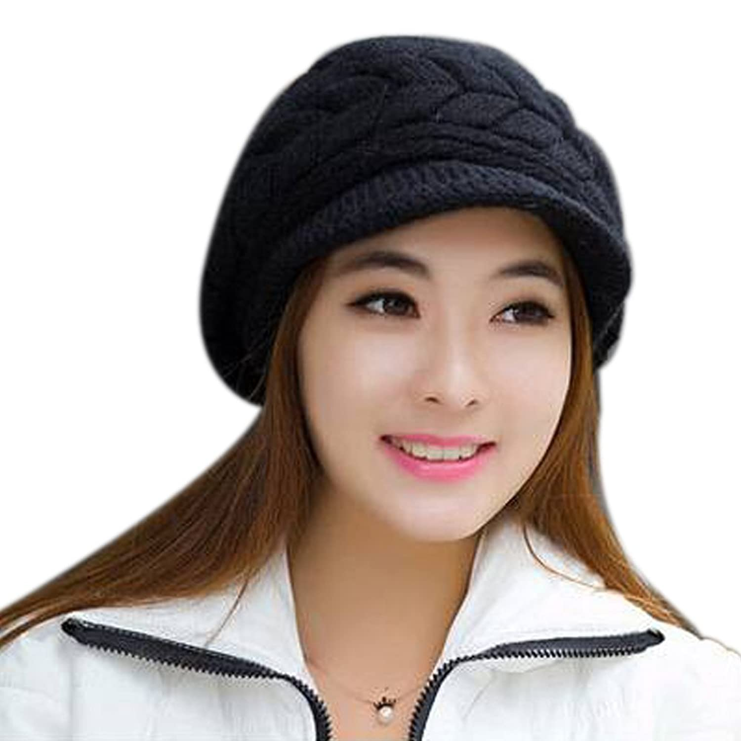 AINOW Women Winter Warm Knit Hat Wool Snow Ski Caps With Visor