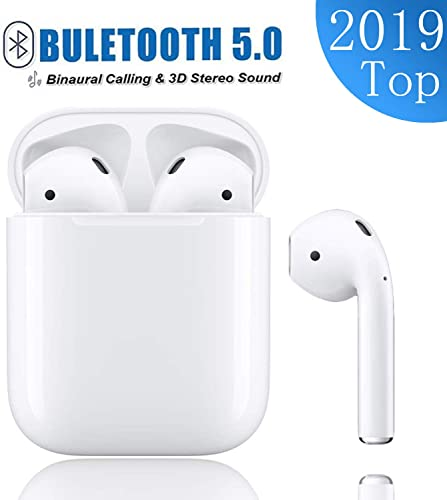 Bluetooth 5.0 Wireless Earbuds Noise Canceling Sports 3D Stereo Headphones with 24Hr Playtime IPX5 Waterproof, Pop-ups Auto Pairing, Built-in Binaural Mic Headset for Android iPhone
