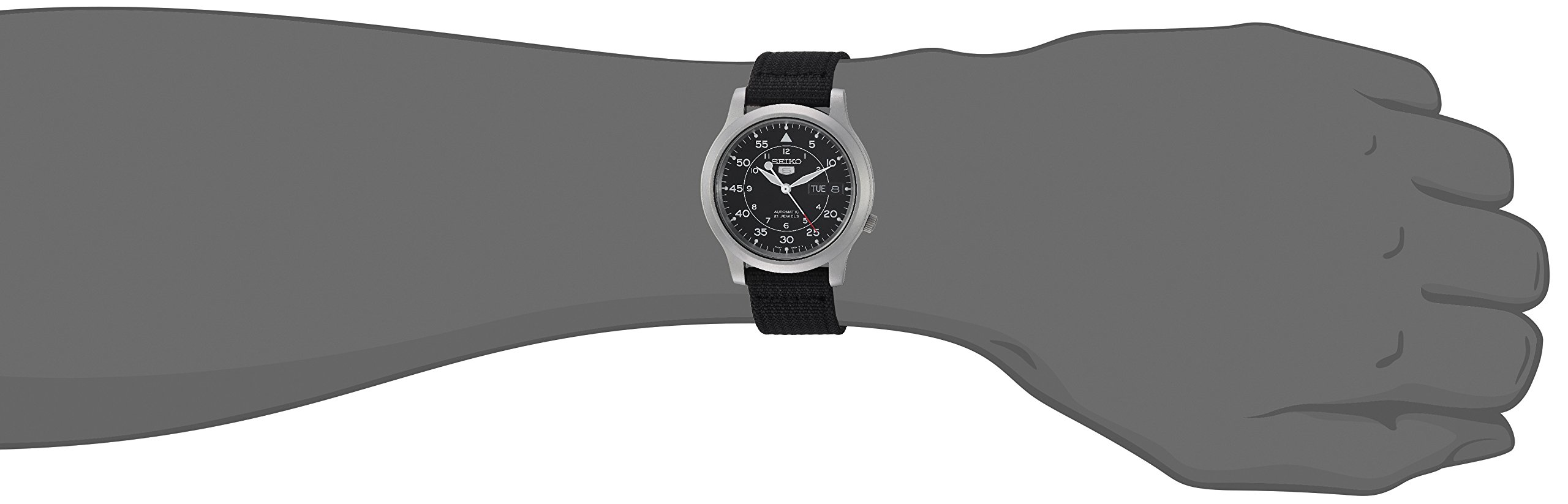 Seiko Men's SNK809 Seiko 5 Automatic Stainless Steel Watch with Black Canvas Strap by Seiko (Image #4)
