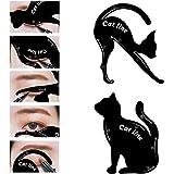 LKE 2 in 1 Cat Eyeliner Stencil, Matte PVC Material Smoky Eyeshadow Applicators Template Plate, Professional Multifunction Black Cat Shape Eye liner & Eye Shadow Guide Template (1 PACK)