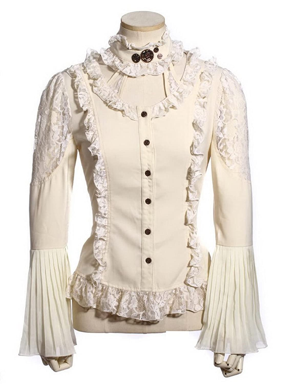 Steampunk Gears Lace Victorian Blouse