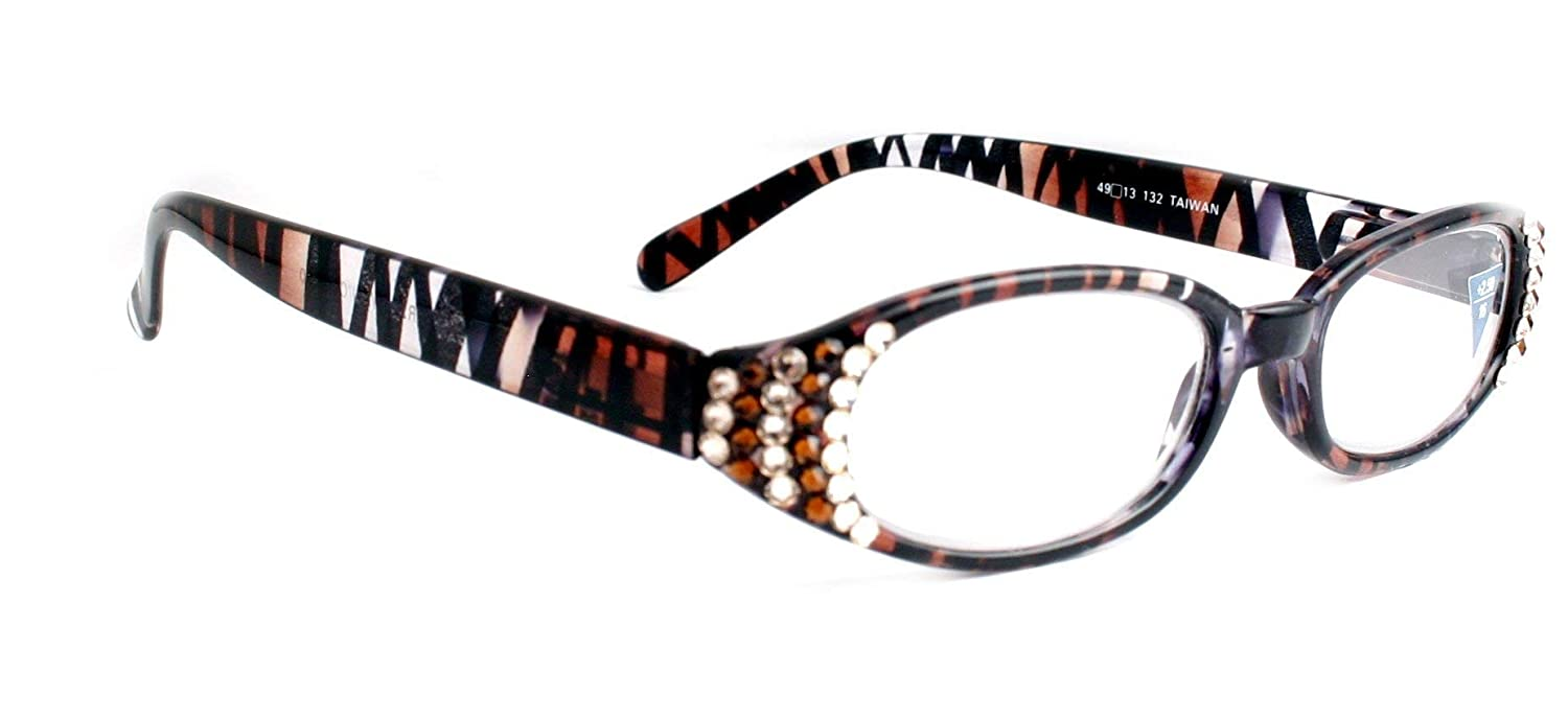 Classic Oval Women Reading Glasses With SWAROVSKI Crystals Tiger Stripes/Giraffe / Zebra +1.25 +1.50 +1.75 +2.00 +2.25 +2.50 +2.75 +3.00 ANIMAL PRINT