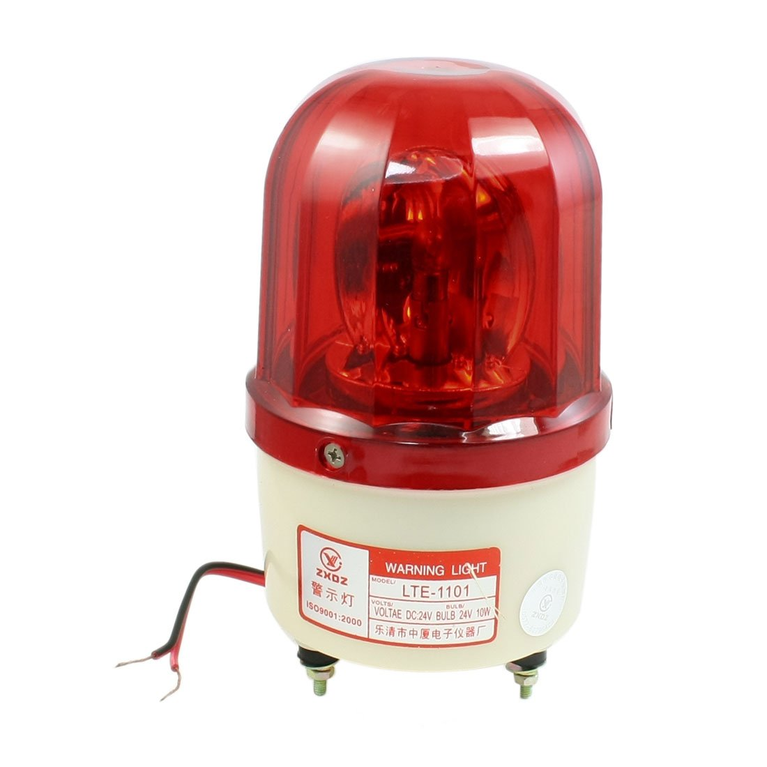 uxcell Red Rotating Flashing Light Signal Tower Industrial Lamp DC 24V 10W