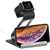 Mercase Apple Watch Dock, Supporto di Ricarica Stazione 2 in 1 per iPhone e Apple Watch Serie 4 Serie 3 Serie 2 Serie 1(38mm 42mm) Smartphone e Tablet iPad - Grigio