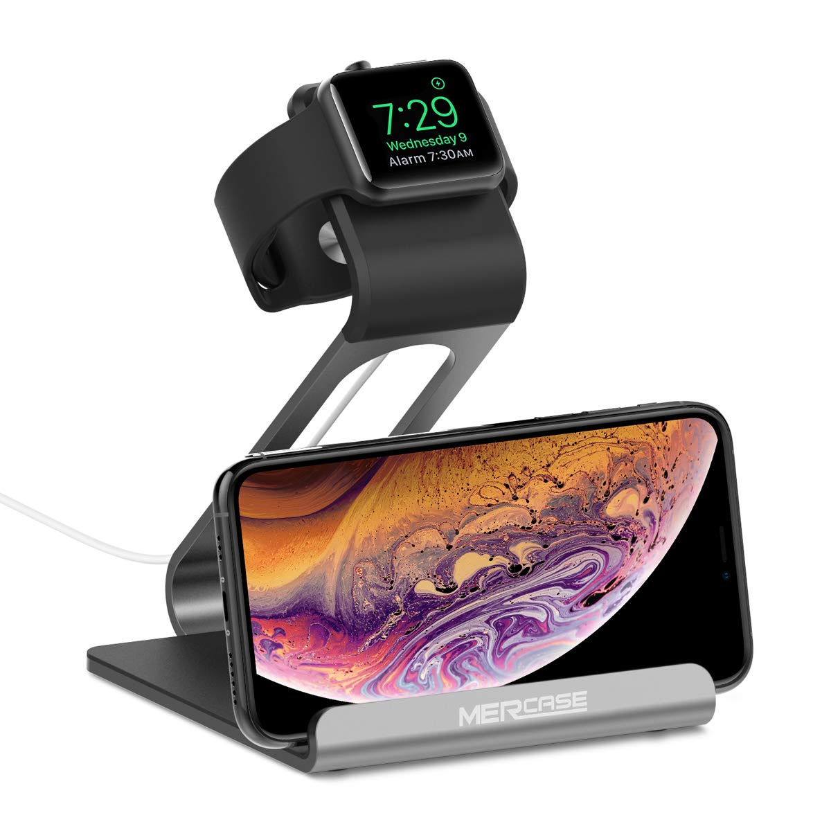 Mercase Apple Watch Stand with Nightstand Mode, 2 in 1 Charging Station Docking Holder for iWatch Series 4/3/2/1 and iPhone Xs/X Max/XR/X/8/8Plus/7/7 Plus/6/6S - Space Grey by Mercase
