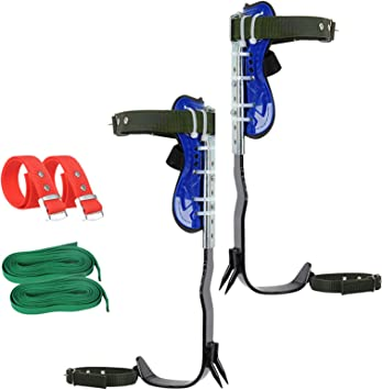 Opaltool Juego de espigas para escalada de árboles, equipo de escalada con 1 par de cuerdas elásticas para escalada en árboles, supervivencia en ...