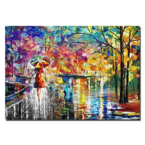 08df677190 JRMISSLI wall art rain 100% Hand-painted Colorful Oil Painting On Canvas  Street The