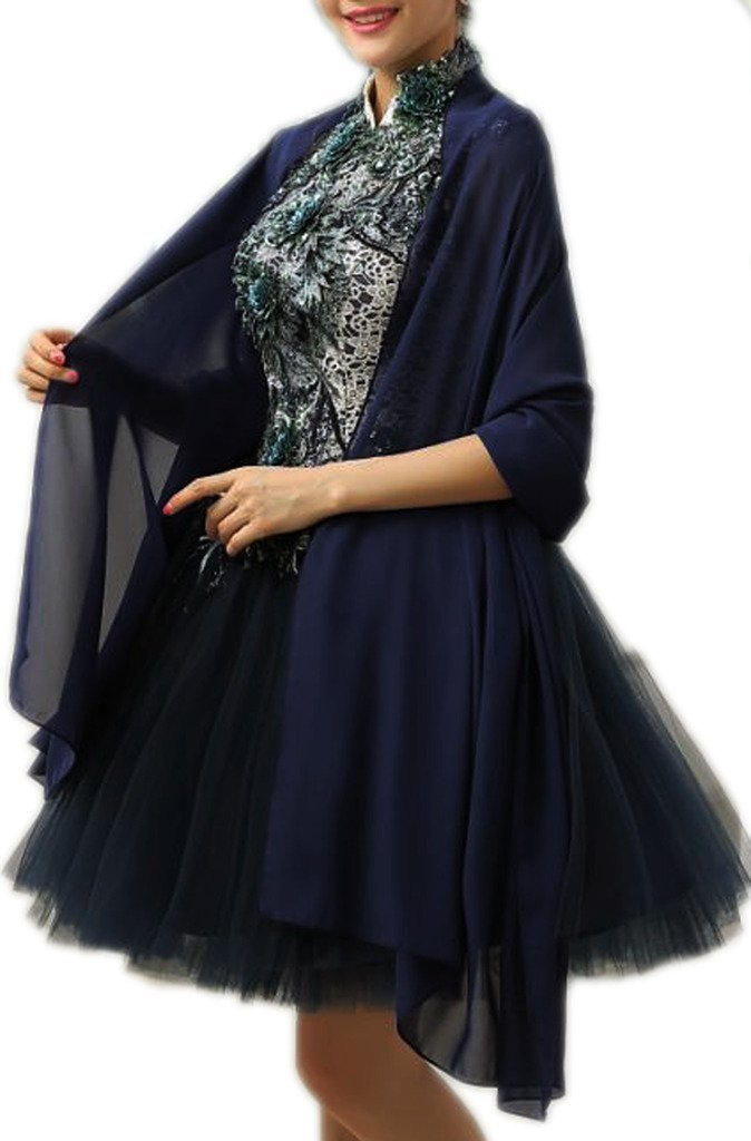 Alivila.Y Fashion Womens Chiffon Bridal Evening Scarf Shawl-Navy Blue Chiffon by Alivila.Y Fashion