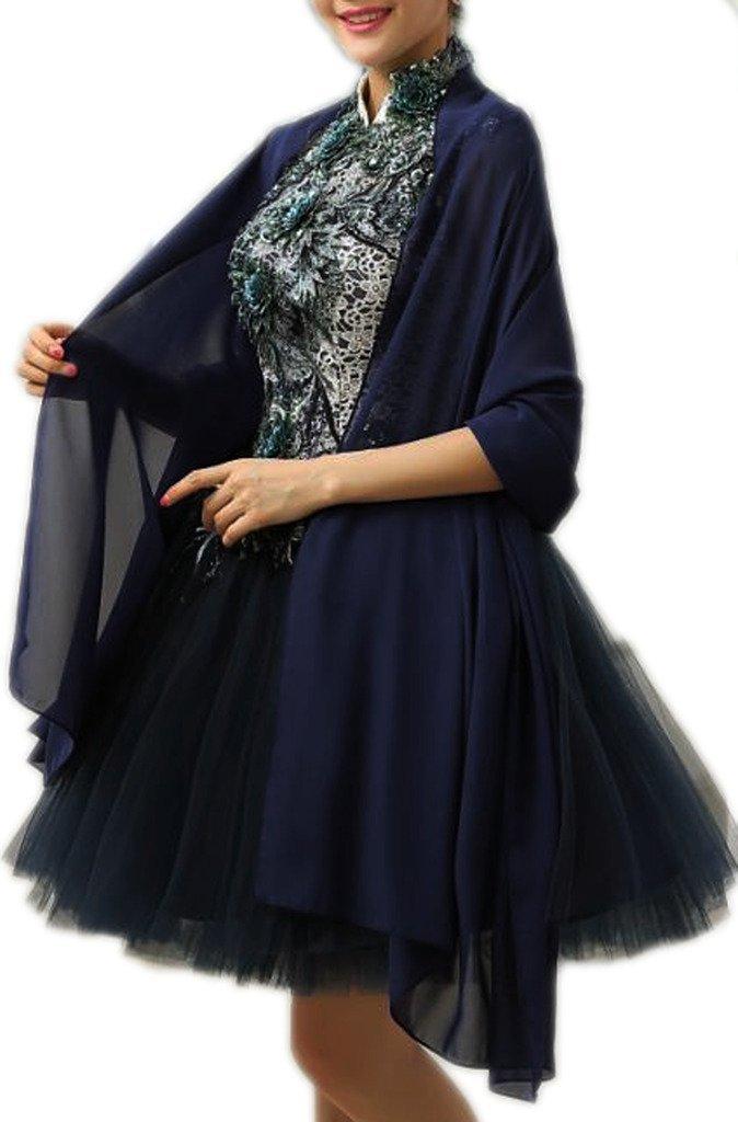 Alivila.Y Fashion Womens Chiffon Bridal Evening Scarf Shawl-Navy Blue Chiffon