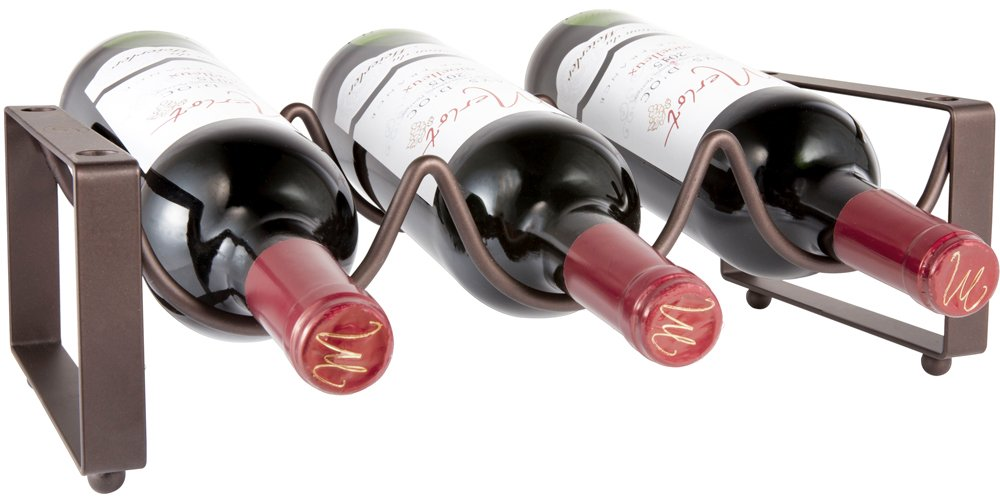 Mkono Stackable Wine Rack for Counter Holds 3 Bottles