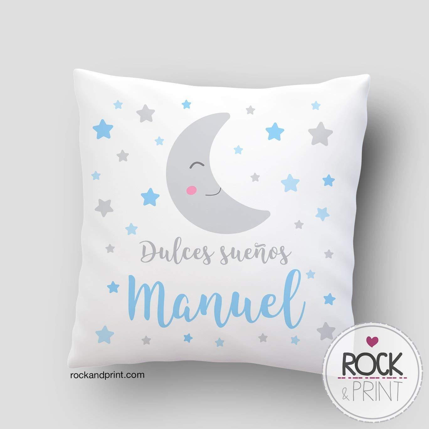 Cojín decoración dulces sueños luna. 40x40 cm, incluye relleno. Elige el color. Regalo nacimiento, recién nacido, bebe. Cojines infantiles originales. ...