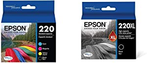 Epson T220120-BCS DURABrite Ultra Black & Color Combo Pack Standard Capacity Cartridge Ink, Black and Color Combo Pack & T220XL120-S DURA Ultra Black High Capacity Cartridge Ink
