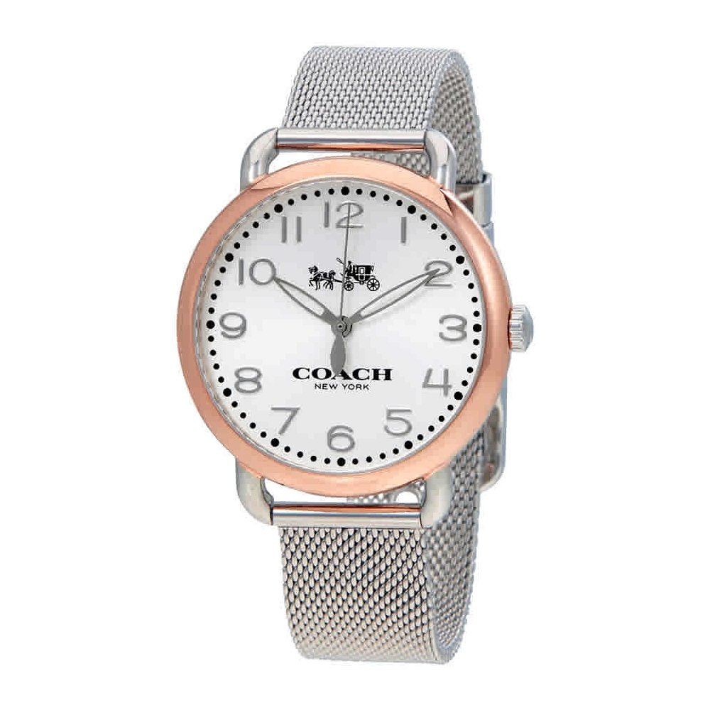 4389ce82238e Amazon.com  Coach Women s 14502266 Delancey Stainless Mesh Bracelet Rose  Gold Tone Watch  Watches