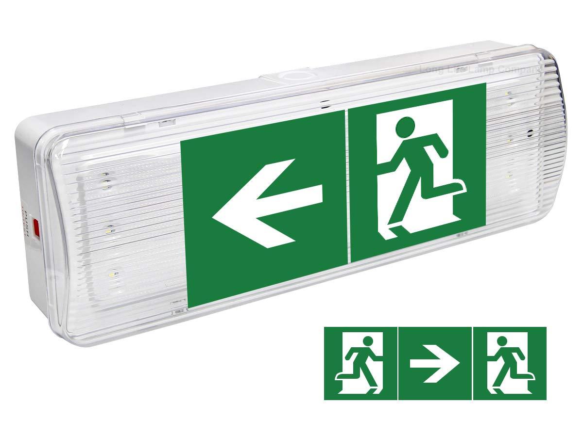 Glas LED inklusive Notausgang-Schild oder Wandhalterung,/k/ühles Wei/ß Long Life Lamp Company Notleuchte//Notbeleuchtung