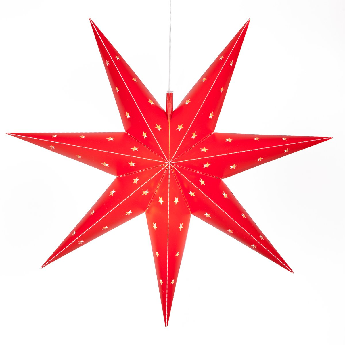 Wintergreen Lighting Fold-Flat 7-Point Star Light - Hanging Star - Christmas Star Light Decoration/Battery-Powered with Timer (24'', Red)