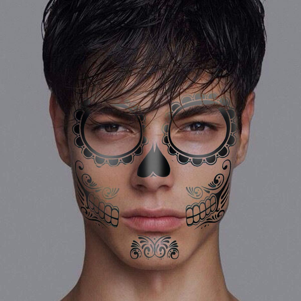 Lurrose 2 unids Tatuajes Temporales Etiqueta Engomada Esqueleto ...