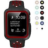 BRG コンパチブル apple watch バンド とapple watchケース のセット apple watch series3/2/1 用のアップルウォッチバンドとアップルウォッチ ケースのセット (38mm,黒/レッド)